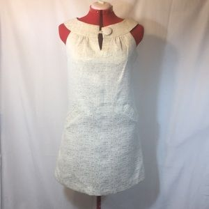 B.B. Dakota Gold & Cream Retro Shift Dress, Sz M
